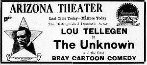 The Unknown (1915 drama film) - Newspaper advertisement