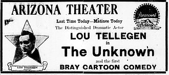 The Unknown (1915 drama film) - Newspaper advertisement