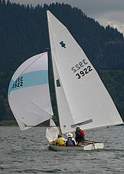 Thistle dinghy with skipper Terry Lettenmaier sailing downwind