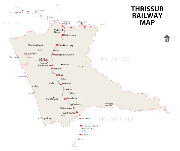 Railway network in Thrissur District