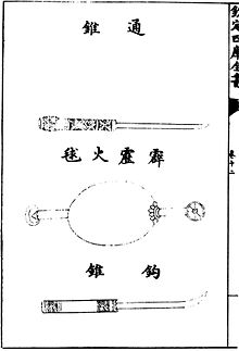 an illustration of a thunderclap bomb as depicted in the 1044 text wujing  zongyao  the top item is a through awl and the bottom one is a hook awl,