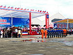 Thundertiger Team and Fighter Pilots Line up in Front of Reviewing Stand for Listening President Ma Speech 20120811.jpg