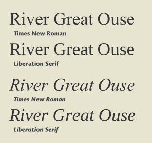 Liberation fonts - Liberation Serif is metrically identical to Times New Roman. However, designer Steve Matteson changed the letterforms considerably, making it less rounded and more square.
