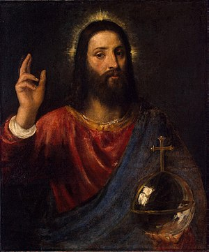 Salvator Mundi - Image: Titian, Salvator Mundi (Christ Blessing), c. 1570, oil on canvas, 96 x 80 cm, Hermitage Museum