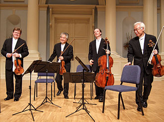 Classical period (music) - A modern string quartet. In the 2000s, string quartets from the Classical era are the core of the chamber music literature. From left to right: violin 1, violin 2, cello, viola