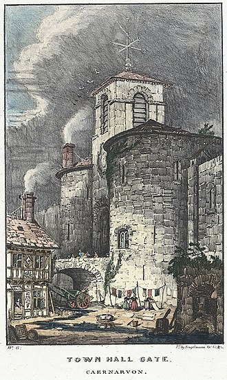 Caernarfon - Town Hall gate c.1840
