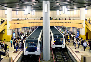 Bucharest Metro - Metro trains at Piata Victoriei