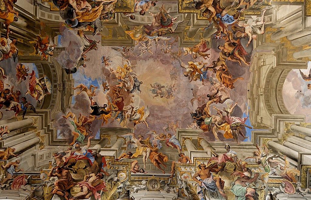 Triomphe de S. Ignace de Loyola par Andrea Pozzo (1685) dans l'église Saint-Ignace-de-Loyola à Rome.