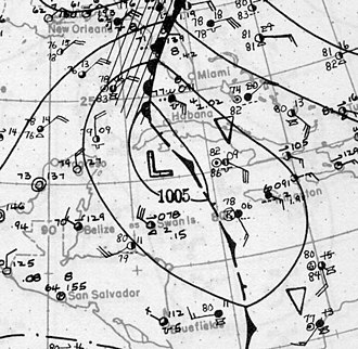 1922 Atlantic hurricane season - Image: Tropical Storm Five surface analysis October 14 1922