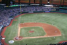 artificial turf field. Tropicana Field Is Installed With An Artificial Turf Field. In Many Baseball Installations, A Full Dirt Infield Not Provided, S