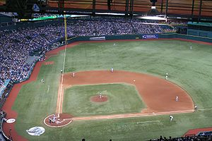 "Artificial turf - Tropicana Field is installed with an artificial turf field. In many artificial turf baseball installations, a full dirt infield is not provided, only the pitcher's mound and cutout ""sliding pits"" around each base."
