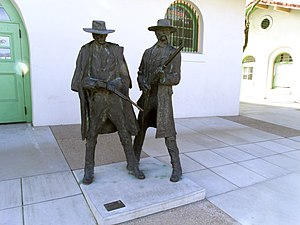 Earp Vendetta Ride - The statue marks the location of 1880s Tucson Depot where Wyatt Earp killed Frank Stilwell. It is now part of modern Amtrak Station.
