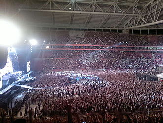 Arena rock - Several arena rock groups such as Bon Jovi, pictured performing in Turkey at the Turk Telekom Arena in 2011, have maintained significant popularity even through changing musical trends.