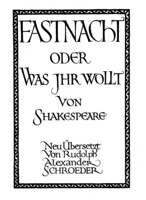 Edward Johnston - Title page for a German edition of Twelfth Night. It was cut into wood by Johnston's colleague Noel Rooke.