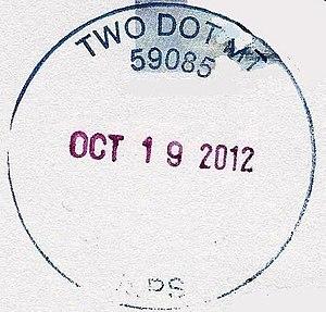 Two Dot, Montana - Image: Two Dot Montana postmark