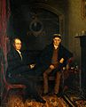Two men, one with a bandaged head. Oil painting. Wellcome V0017297.jpg