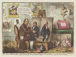 "First Parliament of the United Kingdom - ""Two Pair of Portraits;"" – presented to all the unbiassed Electors of Great Britain, an anti-Whig caricature published 1798 by James Gillray showing Fox as the personification of vice next to a portrait of Pitt as the embodiment of honesty, followed by portraits of their fathers, Lord Holland and William Pitt senior displayed below. The title is an allusion to a pamphlet by John Horne Tooke."