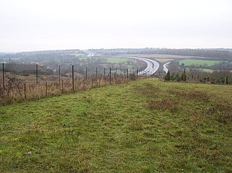 Twyford Down - Twyford Down in November 2005, with the M3 in the background