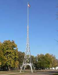 Tyndall SD Eiffel tower flagpole from SW 1.JPG