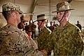 U.S. Army Lt. Col. Anthony Noll, left, the deputy commander of Combined Team Uruzgan, congratulates Australian Army Maj. Gavin Ware after Ware's receipt of a U.S. Army Commendation Medal Aug. 7, 2013 130807-O-MD709-162-AU.jpg