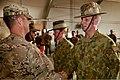 U.S. Army Lt. Col. Anthony Noll, left, the deputy commander of Combined Team Uruzgan, congratulates Australian Army Maj. Gavin Ware after Ware's receipt of a U.S. Army Commendation Medal Aug. 7, 2013 130807-O-MD709-162-AU.jpg