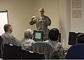 U.S. Army Maj. Gen. Peter Lennon, center, the commanding general of the 377th Sustainment Command, speaks to human resources Soldiers taking part in a senior-leaders class during Silver Scimitar 2013 at Fort 130312-A-AC168-156.jpg