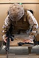 U. S. Marine with Engineer Company, Combat Logistics Regiment 2, attempts to exit the MRAP Egress Trainer (MET) during Enhanced Mojave Viper (EMV), on Marine Corps Air Ground Combat Center Twenty-nine Palms, CA 120828-M-KS710-035.jpg