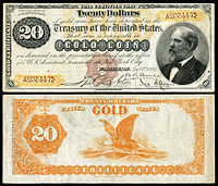 $20 Gold Certificate, Series 1882, Fr.1175a, depicting James Garfield