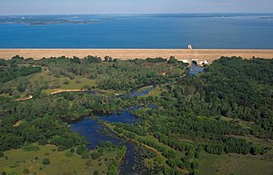 Lewisville Lake - Aerial view of Lewisville Lake and Dam