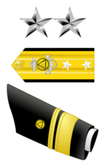 The stars, shoulder boards, and sleeve stripes of a National Oceanic and Atmospheric Administration two-star, rear admiral
