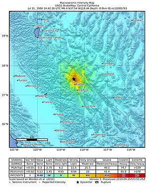1986 Chalfant Valley earthquake - USGS ShakeMap for the event
