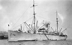 USS Bridge (AF-1) anchored in the Hudson River off New York City (USA), 27 December 1918 (NH 56574).jpg