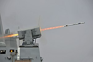 RIM-116 Rolling Airframe Missile - Image: USS New Orleans (LPD 18) launches RIM 116 missile 2013