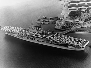 USS Yorktown (CV-5) loading aircraft at Naval Air Station North Island in June 1940.jpg