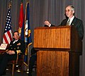 US Navy 040129-N-2568S-002 Secretary of the Navy Gordon R. England, speaking at the 2003 Combined Federal Campaign awards ceremony ends his remarks by quoting Winston Churchill.jpg