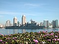 US Navy 040309-N-7949W-003 The amphibious dock landing ship USS Germantown (LSD 42) sails past downtown San Diego, Calif. on its way to loved ones waiting pier side at Naval Base San Diego.jpg