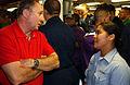 US Navy 040722-N-5549O-045 Michael Reagan, son of former President Ronald W. Reagan, speaks with a Sailor aboard his father's namesake ship, USS Ronald Reagan (CVN 76).jpg