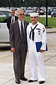 US Navy 040811-N-0000N-003 Secretary of the Navy, Gordon R. England presents the Navy Cross to Hospitalman Apprentice Luis E. Fonseca, Jr.jpg