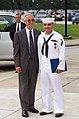 US Navy 040811-N-0000N-003 Secretary of the Navy, Gordon R. England presents the Navy Cross to Hospitalman Apprentice Luis E. Fonseca, Jr.jpg