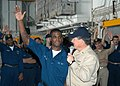 US Navy 050711-N-2382W-110 Master Chief Petty Officer of the Navy (MCPON) Terry Scott talks to Electrician's Mate Fireman Michael Williams and asks for crowd participation during a discussion on the Navy's Thrift Savings.jpg