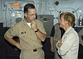 US Navy 050910-N-8154G-142 Chief of Naval Operations (CNO), Adm. Michael G. Mullen, talks with USS Bataan (LHD 5) Commanding Officer, Capt. Nora Tyson, after addressing the crew during an All hands Call.jpg