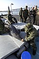 US Navy 060509-N-2568S-267 SECNAV watches as Sailors assigned to EOD-1 demonstrate the work they do with Marine Mammals.jpg