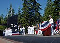 US Navy 070706-N-7656R-002 Cmdr. Jeffrey S. Coran, outgoing commanding officer USS Kentucky (SSBN 737), gives a speech during his change of command ceremony at Naval Base Kitsap Bangor Deterrent Park.jpg