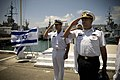 US Navy 080621-N-8273J-115 Capt. Bill Moran, left, and Israeli Navy Capt. Azarel Ram render honors during an honors ceremony for Chief of Naval Operations (CNO) Adm. Gary Roughead.jpg