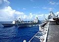 US Navy 081014-N-1062H-036 The guided-missile cruiser USS Shiloh (CG 67) pulls alongside the Military Sealift Command fleet replenishment oiler USNS Rappahannock (T-AO 204) while the Rappahannock refuels the aircraft carrier US.jpg