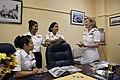 US Navy 090908-N-3135G-003 Cadet Ensign Kimberly Villata, far left, Cadet Battalion Cmdr. Karla Gutierriez, Cadet Lt. Leslie Gallardo, and Rear Adm. Robin Braun discuss the pros and cons of attending Rickover Academy.jpg