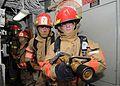 US Navy 100514-N-1082Z-101 Sailors participate in a damage control fire drill aboard the amphibious dock landing ship USS Ashland (LSD 48).jpg