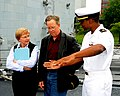 US Navy 100606-N-2143T-002 Ensign Kareem Washington gives a personal ship tour to Thomas Sampson and his wife Martha during the Portland Rose Festival and Fleet Week celebration.jpg