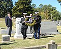 US Navy 111024-N-FN555-029 Ensign Brandon McNally and 1st Lt. Michael Jones place a wreath at the grave site of Ensign William Devotie Billingsley.jpg