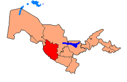 Map of Uzbekistan, location of Bukhara Province highlighted